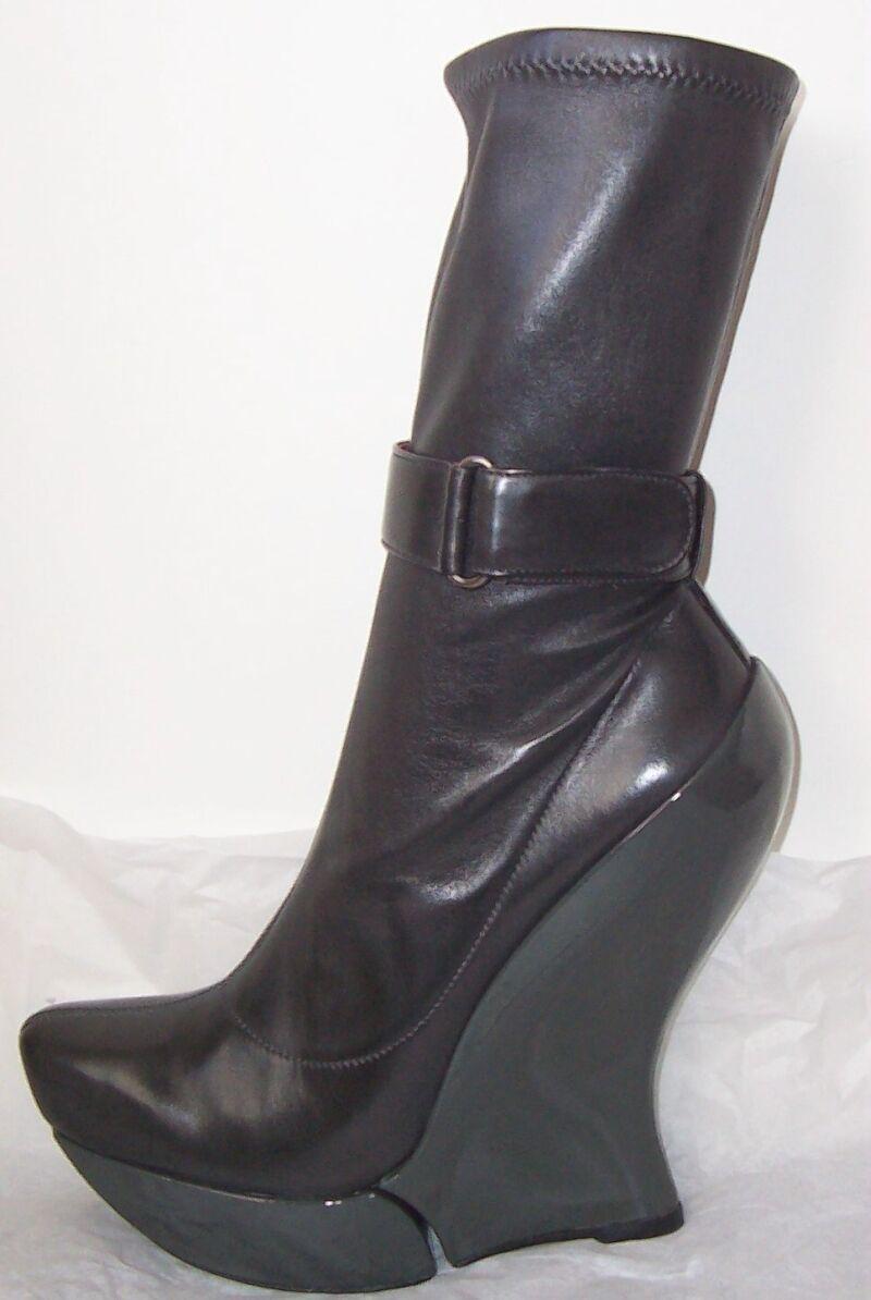 CELINE Grigio Leather Platform Wedge Ankle Boots 37.5
