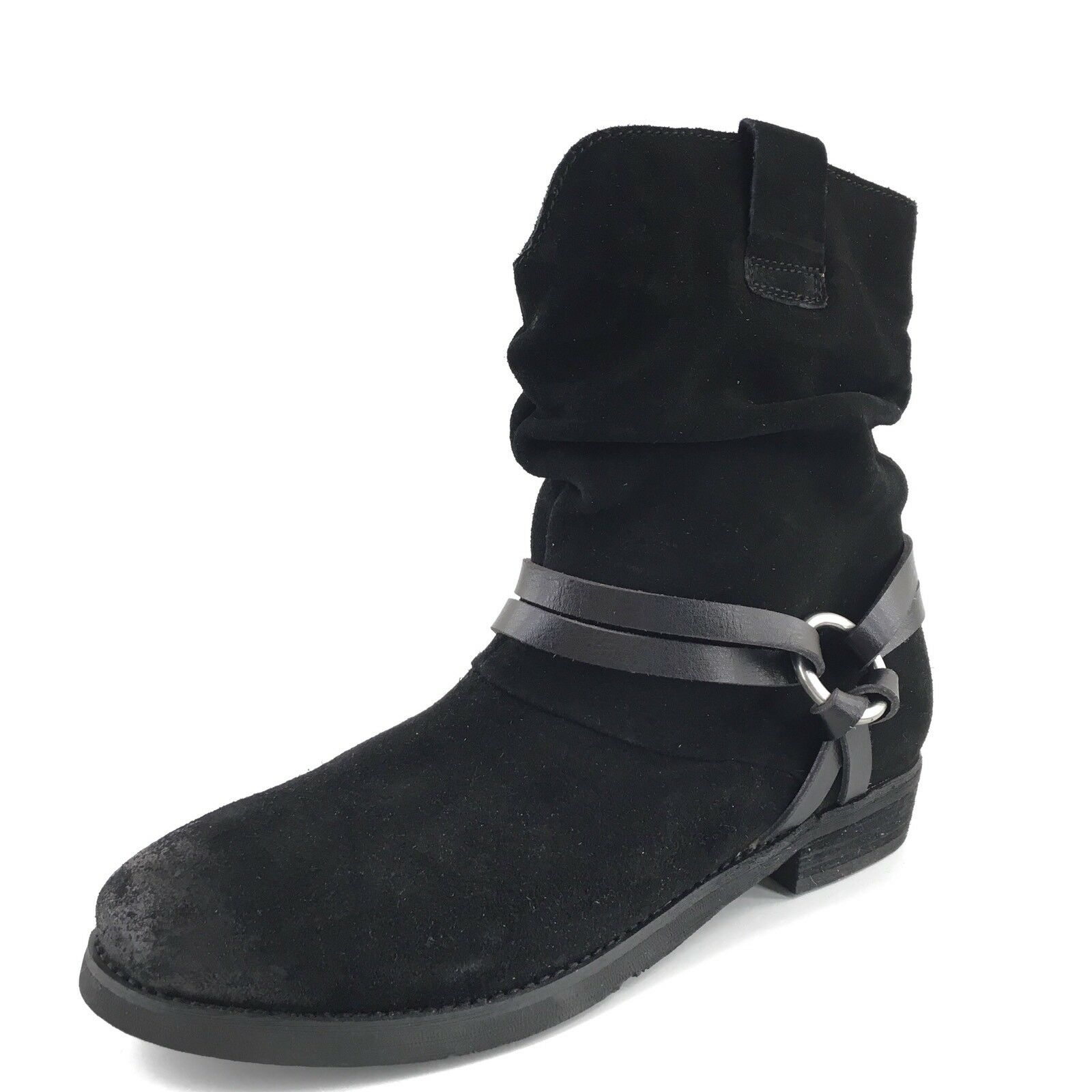 Corso Como 'Seaton' Slouchy Black Suede Harness Ankle Boots Women's Size 8 M