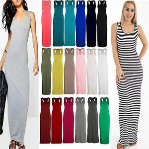 114819dafb Ladies Jersey Long Summer Vest Racer Muscle Back Maxi Women Dress ...