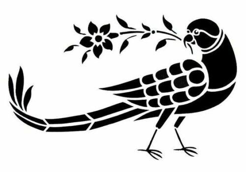 A4//A5//A6-180 micron Bird Holding Flower Stencil Reusable Stencil