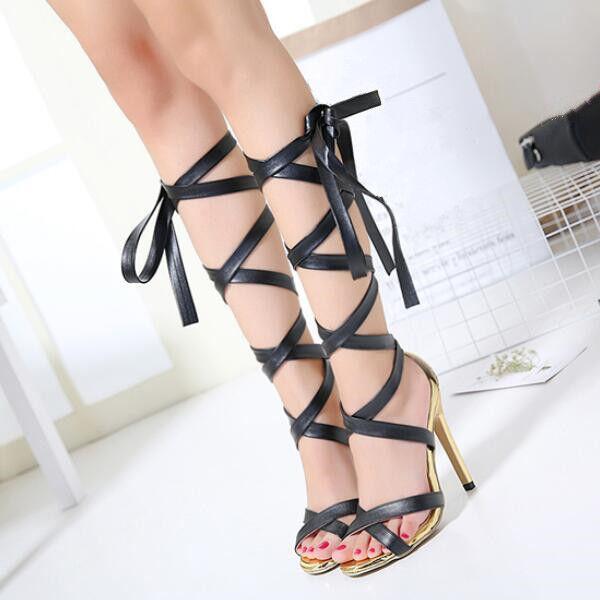 Zapatos casuales salvajes sandalias de mujer alto talón 11 elegantes tacón de aguja negro gladiador como