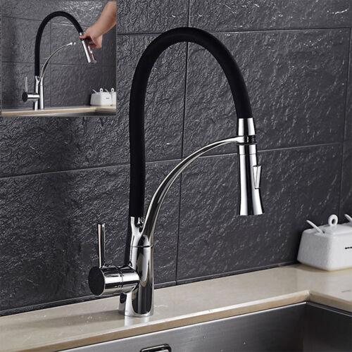 brass 360°Rotation Kitchen Sink Mixer Taps Black Rubber Chrome Modern H/&C Tap