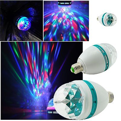 2015~E27 RGB LED Rotating Stage Crystal Ball LED Lamp for DJ/Disco//Party 3W