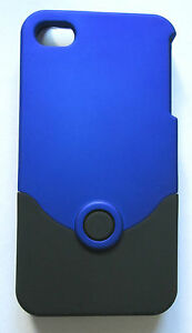 iPhone-4-Case-Cover-2-Piece-soft-touch-hard-case-shell-Black-Blue