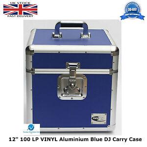 2-X-NEO-Aluminium-Blue-DJ-Flight-Case-to-Store-100-Vinyl-LP-12-034-Records-STRONG