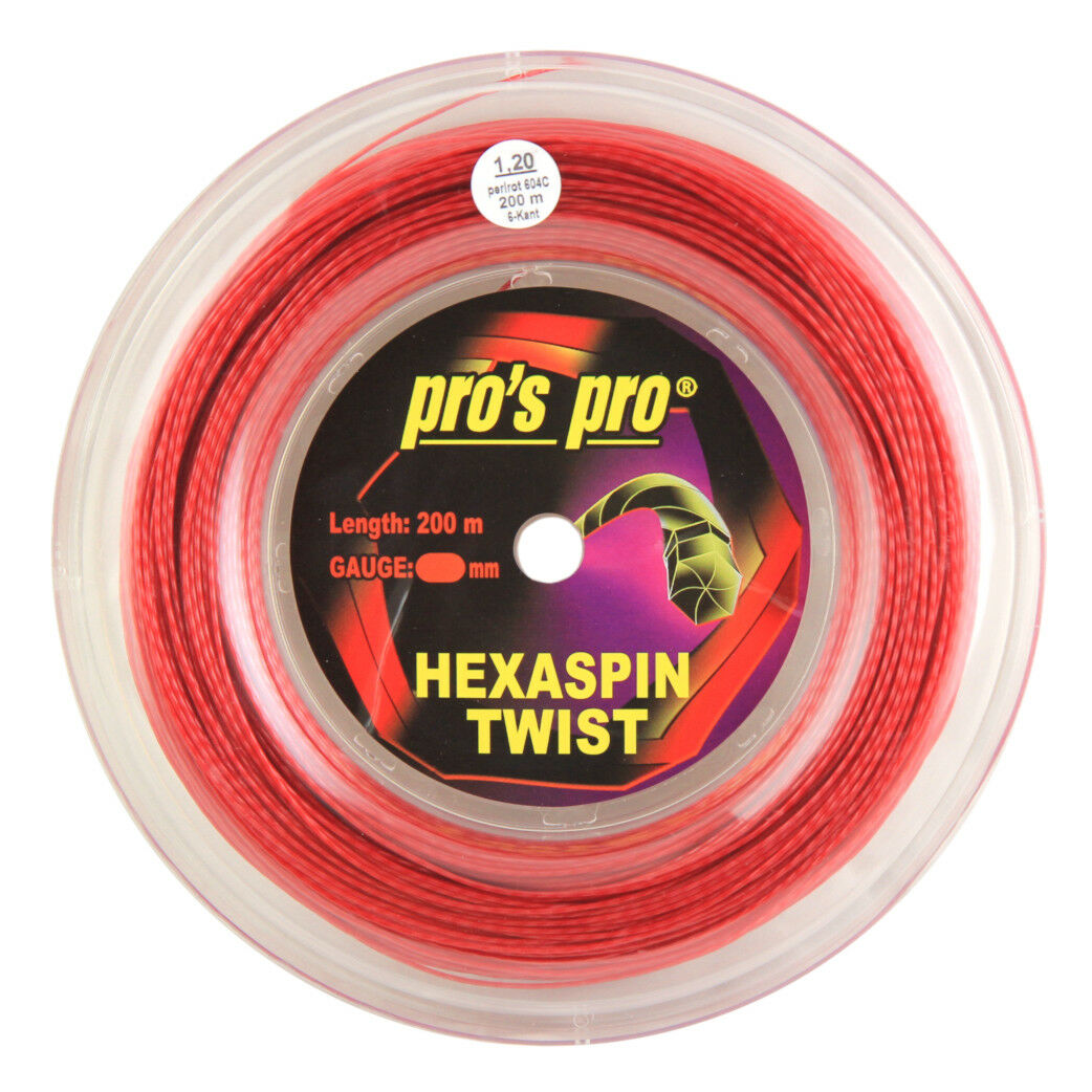 Pro's Pro Hexaspin Twist Tennis String - 200m (660ft) Reel - 1.20mm - Red
