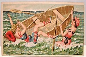 ANTIQUE-EARLY-1900-039-S-BATHING-BEAUTY-POSTCARD-FALLING-OUT-OF-BOAT-IN-OCEAN