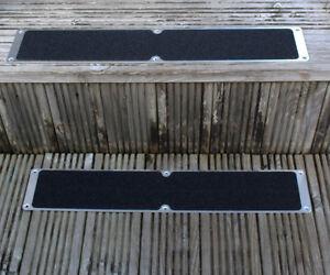 2 Black 115mm X 635mm Aluminium Anti Slip Stair Tread
