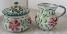 PORCHES POTTERY PORTUGAL HAND PAINTED LARGE COVERED SUGAR AND CREAMER SET