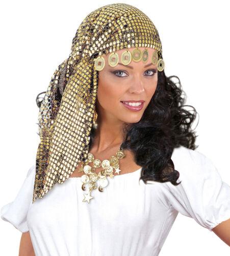 Karneval Fasching Hut Mütze Kopf Pailletten Zigeunerin Kopftuch mit Münzen NEU