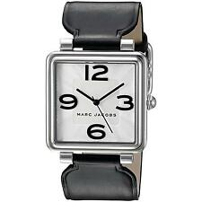 NEW MARC BY MARC JACOBS Vic Silver Dial Black Ladies Leather Watch MJ1439 Square