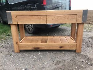 HUGE-6-foot-English-OAK-butchers-block-kitchen-island-table-custom-made-anysize