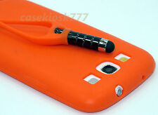 for samsung galaxy S3 phone orange attached stylus case silicone // S III i9300