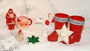 image is loading 11 antique christmas decorations plastic santa sleigh boot