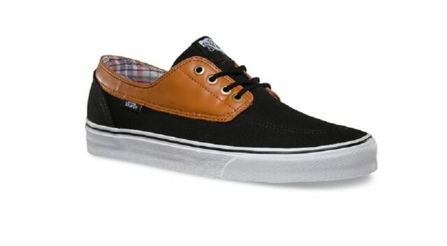 8570cfcbee4784 Vans Off the Wall Brigata C L Black Brown True White Leather Mens 6.5 Shoes  Sk8