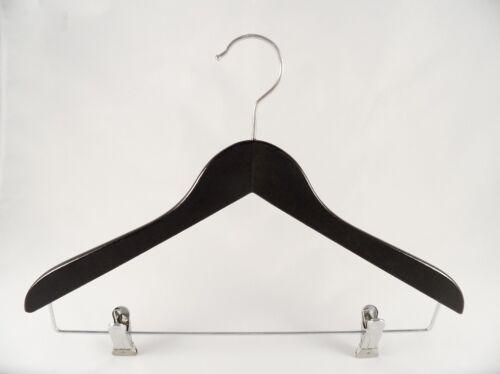 5 Stück Holzbügel für Anzüge und Zweiteiler mit Clip NEU flach 38cm schwarz