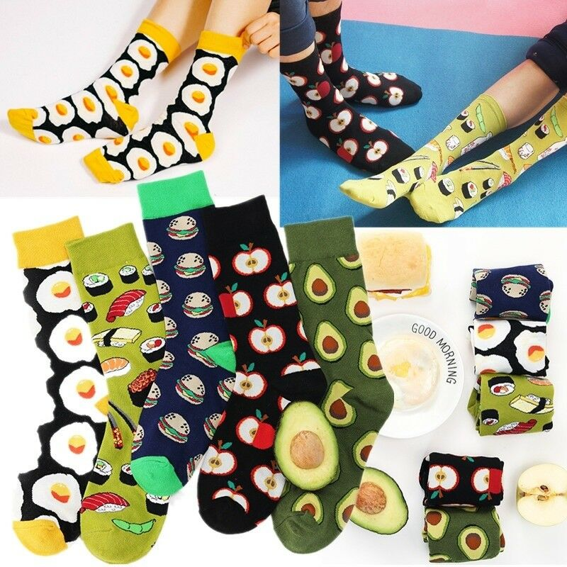 1 Pair Cute Girls Funky Food Series Avocado Omelette Fruit Sports Ankle Socks-WI