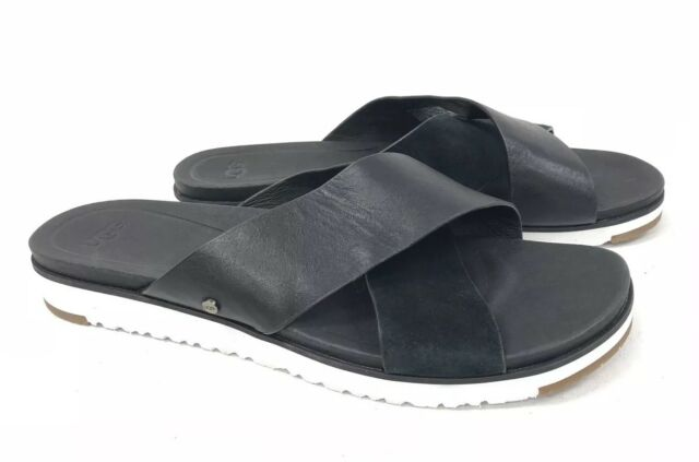 91902a6f293 UGG Australia KARI Black LEATHER IMPRINT SLIDE SANDALS WOMEN 1090383