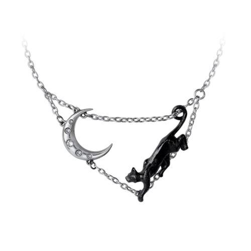 Minnaloushe Yeats Halskette Schwarze Katze Creeping Crescent Mond Alchemy Gothic
