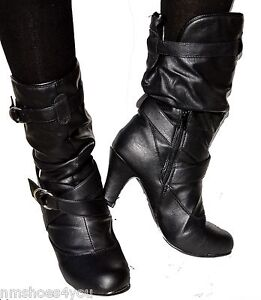 new high heel faux leather slouch kitten mid calf