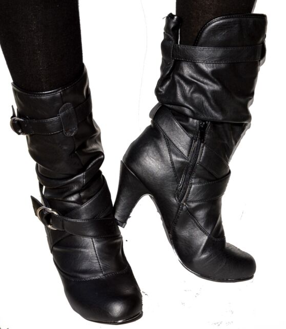 Women High Heel Faux Leather Slouch Kitten Mid Calf Dress Boots