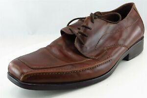Johnson-And-Murphy-Derby-Oxfords-Brown-Leather-Men-Shoes-Size-12-Medium-D-M