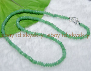 Fine-2x4mm-Emerald-Green-Faceted-Roundel-Gems-Beads-Necklace-Silver-Clasp-AA