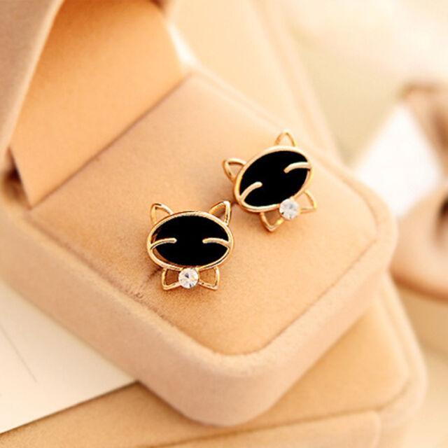 New Fashion Cute Black Cat Ear  Studs Exquisite Rhinestone Earrings Womens Gifts