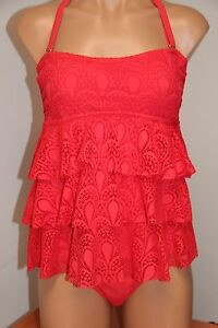 64ca5bb89 NEW Island Escape Swimsuit Tankini 2pc Set Sz 10 12 Coral Crochet ...