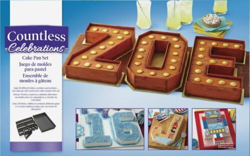 Wilton Countless Celebrations Cake Pan Letters /& Numbers Set 2105-0801