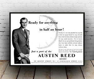 Austin Reed Vintage Gents Clothing Advert Poster Reproduction Ebay