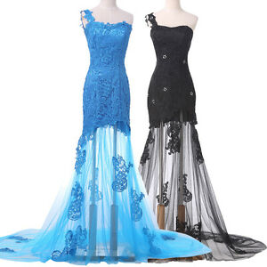 SALE~Black Lace Cocktail Formal Evening Party Long Gown Bridesmaid Mermaid Dress