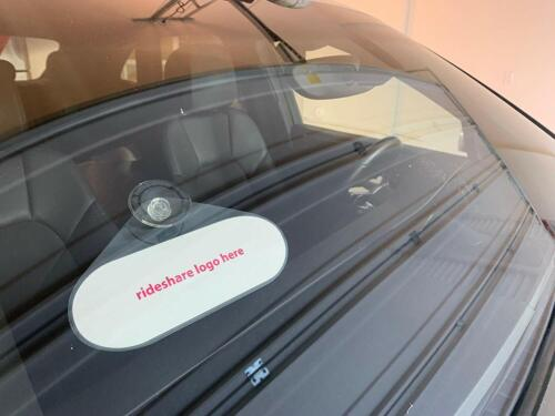 Rideshare Display Placard Emblem with Suction Cup