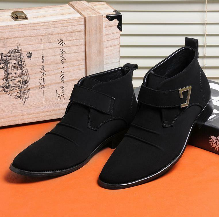 Men's Ankle Boots casual elevator increase dress Suede leather Pointy Toe shoes