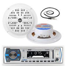 "Black 4"" 100W Marine Speakers, Pyle White USB Bluetooth Receiver, Marine Antenna"