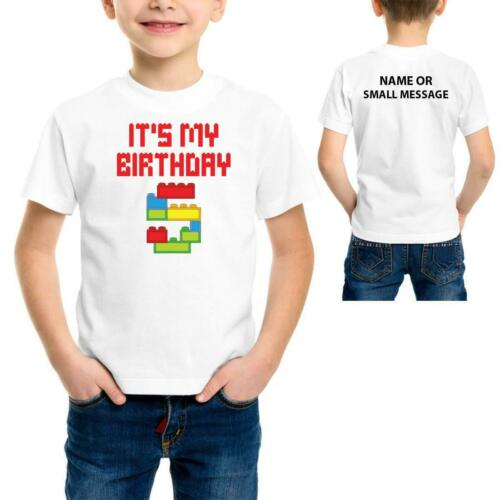 Kids  It is my 5th Birthday Blocks Bricks Gift Tee T-Shirt 5 years Boys
