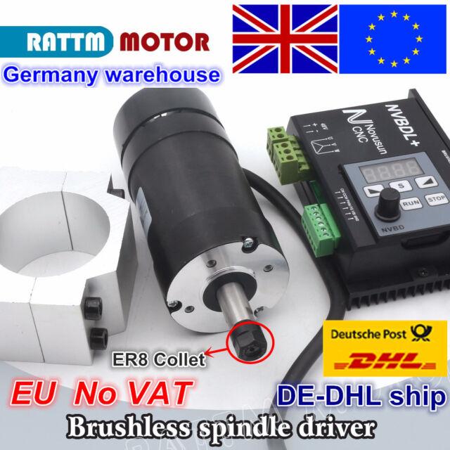 【EU】400W DC Brushless Spindle Motor ER8 + NVBDL+ 600W 60V Driver +55mm Clamp CNC