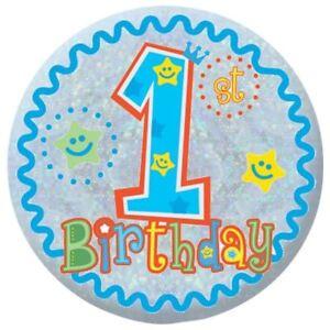 happy 1st birthday badge baby boy first birthday ebay