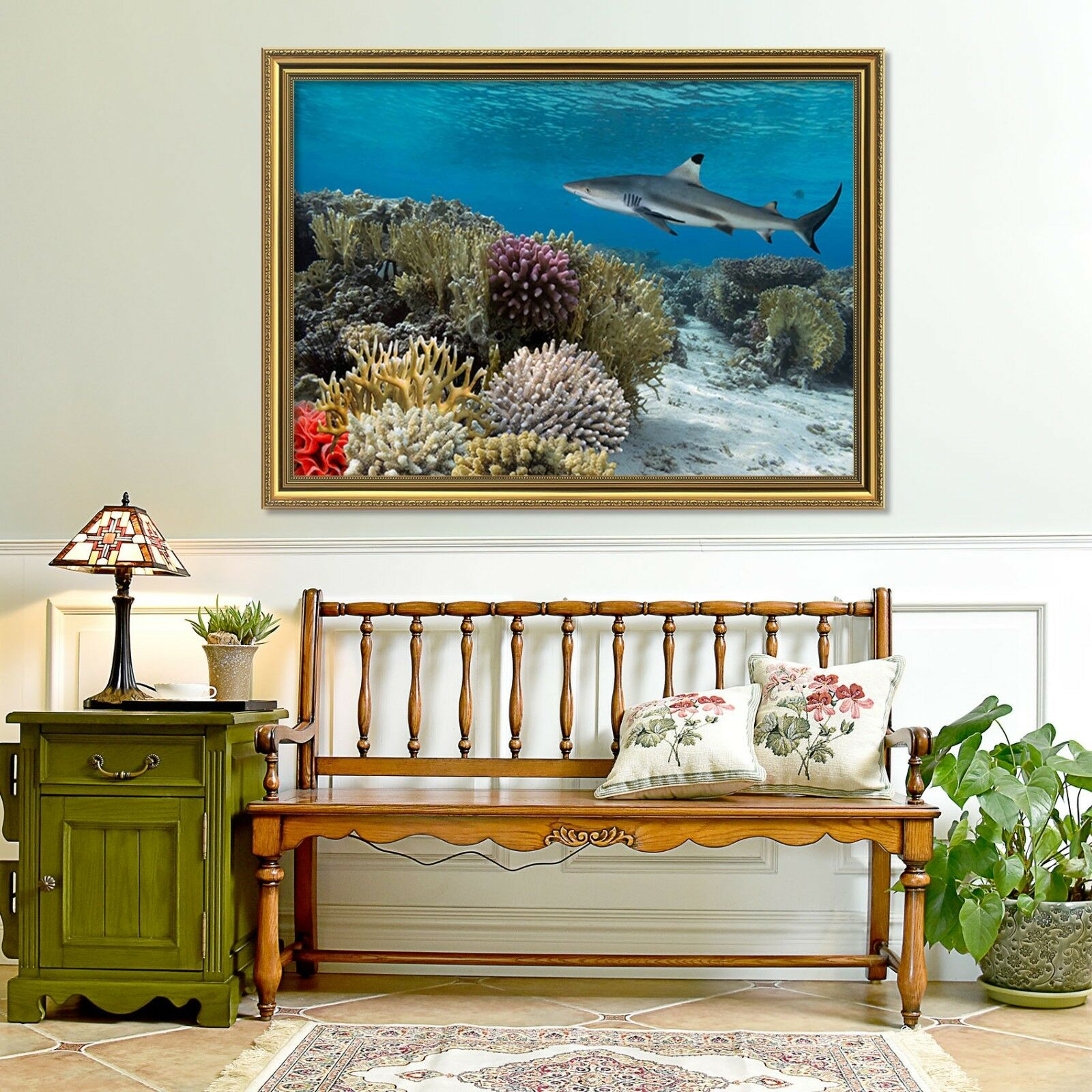 3D Shark Coral Ocean 2 Framed Poster Home Decor Print Painting Art AJ WALLPAPER