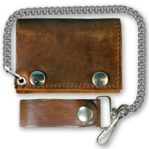 For Bikers USA Made Tri-Fold Distressed Brown Leather Chain Wallet