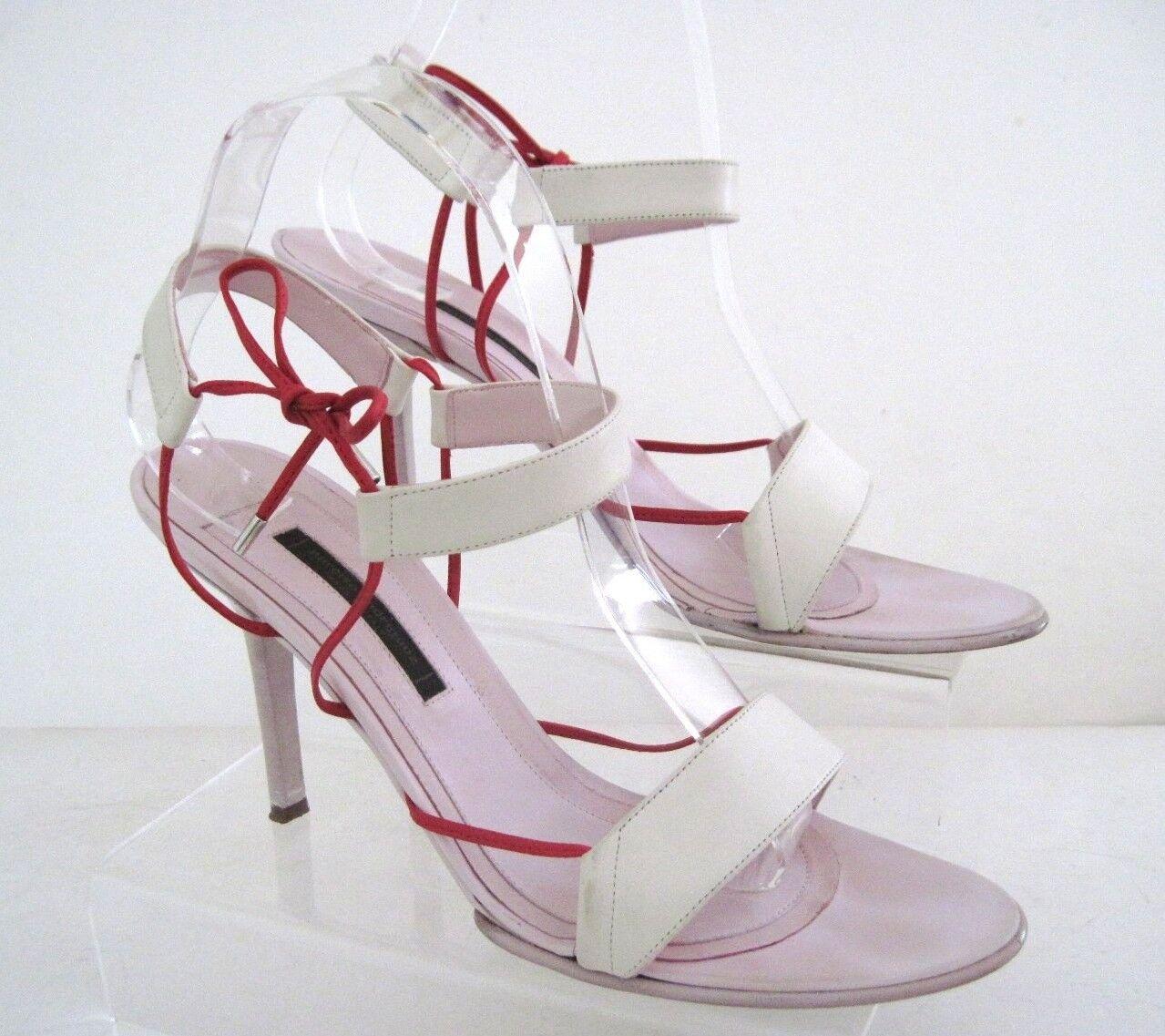 Narciso Rodriguez rosado Luz blancoa De Cuero Sandalias De Tiras Tiras Tiras Talla 38 1 2 Italia  conveniente