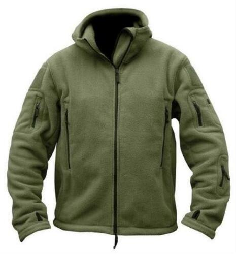 Men/'s Military Fleece Tactical Softshell Jackets Thermal Polar Hooded Outerwears