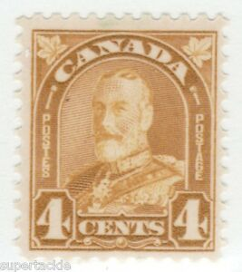 Canada-1930-168-MNH-F-4-cent-yellow-bistre-King-George-V-Arch-Leaf