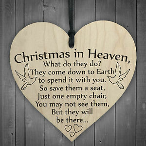 Christmas In Heaven Xmas Tree Decoration Memorial Quote Heart Plaque