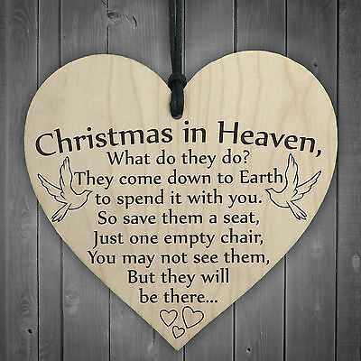 Christmas In Heaven Xmas Tree Decoration Memorial Quote Heart Plaque Love  Poem 5060293725474 | eBay