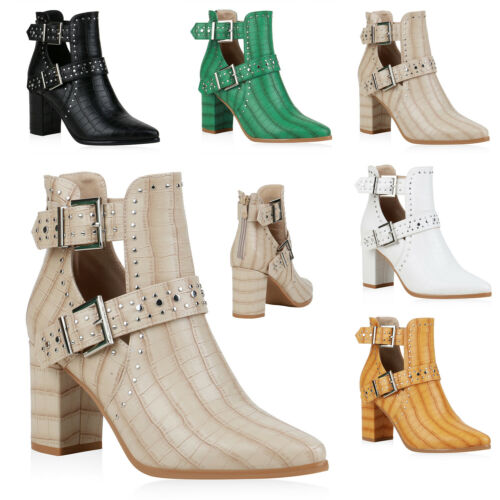 Damen Stiefeletten Ankle Boots Blockabsatz High Heels Cut Outs 833782 Trendy Neu
