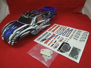 TRAXXAS-RUSTLER-BLUE-BLACK-WHITE-BODY-AND-DECALS-NEW-vxl-xl-5-brushless
