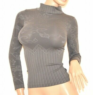 MAGLIETTA NERA donna maglia LUPETTO sottogiacca microfibra maniche lunghe 90