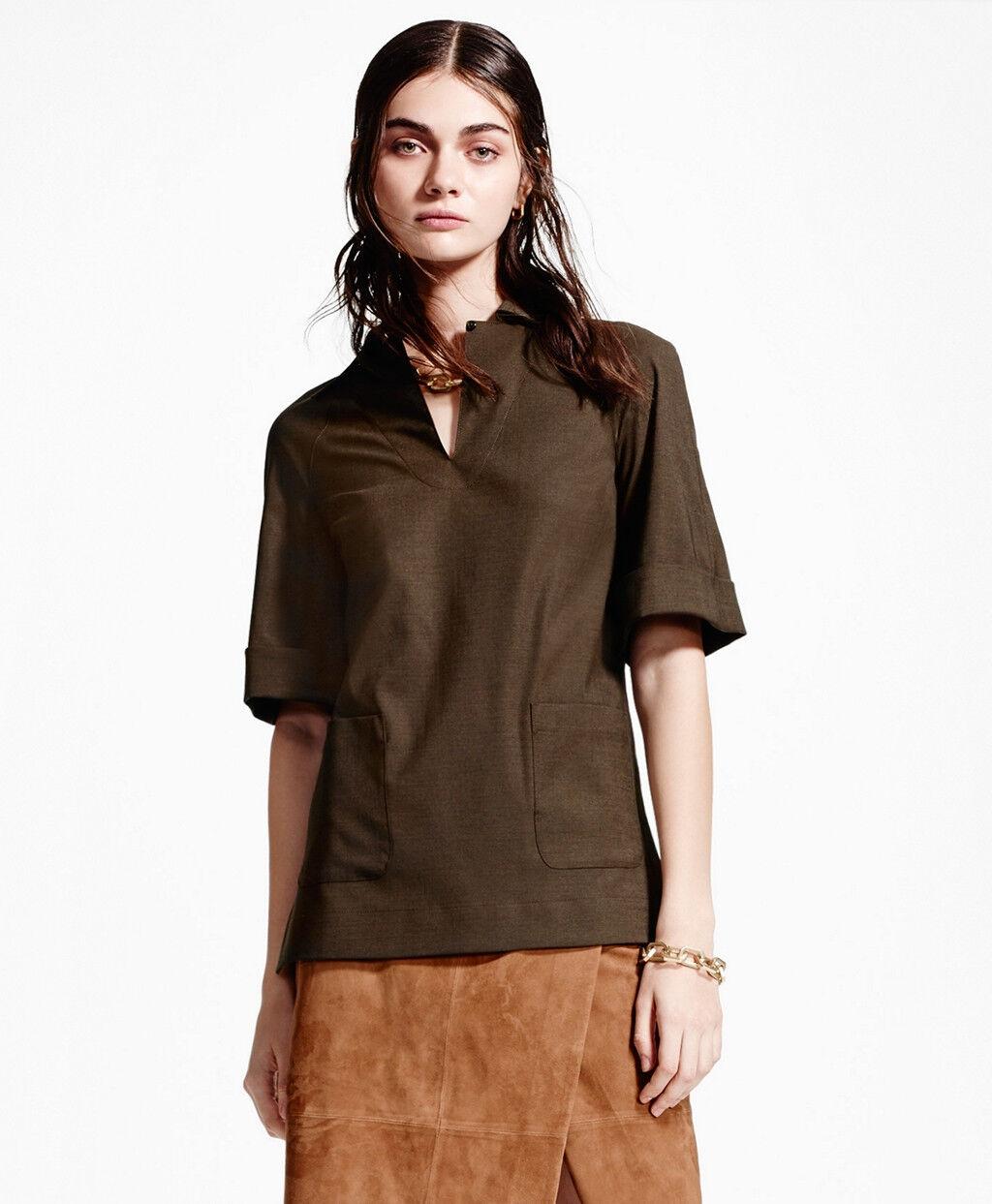 NEW Brooks Brothers 14 braun Stretch Wool Tunic Shirt Top w Pockets