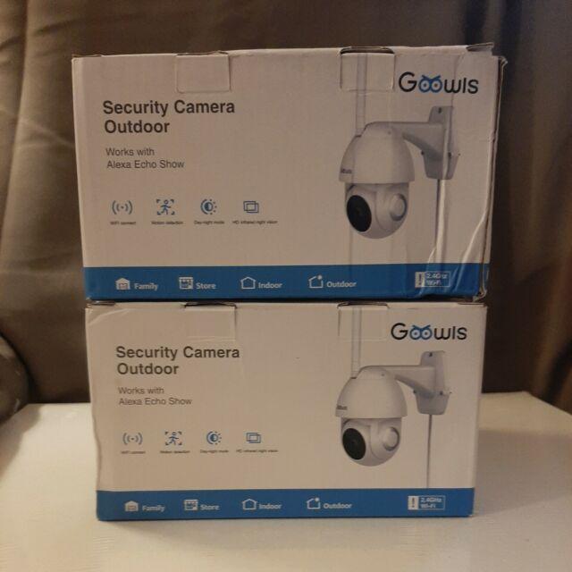 2x Goowls Camera Outdoor 1080P HD Pan Tilt 2G WiFi Home Surveillance Alexa Night